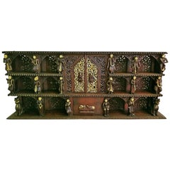 19th Century Burmese Highly Carved Wooden Floor or Wall Shelf Ft Hindu Gods