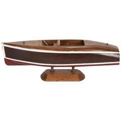 Small Wooden Cabin Cruiser Boat Model