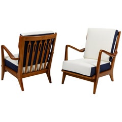 Gio Ponti Pair of Walnut Armchairs Model 516