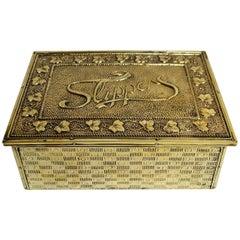 Antique English Brass Slipper Box