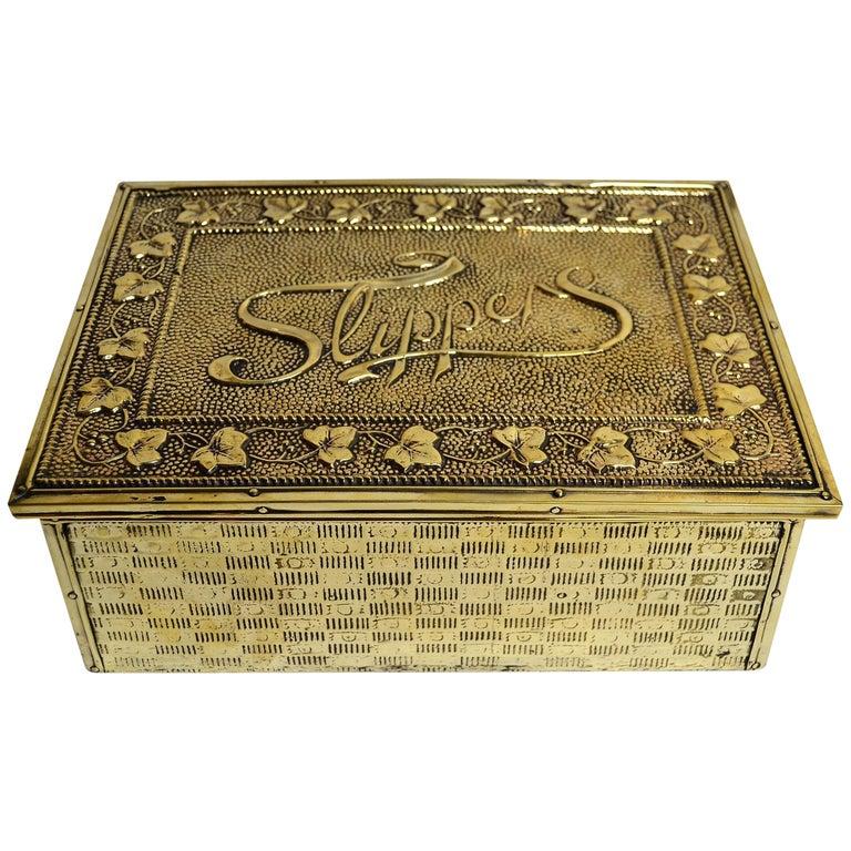 Antique English Brass Slipper Box For Sale