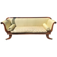 English Mahogany Regency Style Sofa Flat Back Sofa on Elaborate Brass Casters