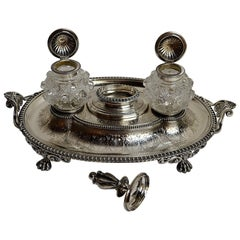 Antique English Sterling Silver Victorian Inkstand