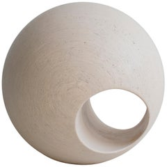 "24"" Sculptural Wood Sphere in Creamwash by May Furniture"