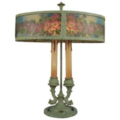 French Reverse Painted Rainaud Figural Rare Form Bouillotte Table Lamp