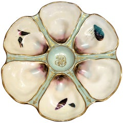 Antique French Limoges Hand-Painted Porcelain Oyster Plate, circa 1900