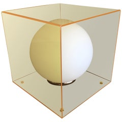 Mid-Century Modern Laurel Lamp in a Yellow Lucite Cube