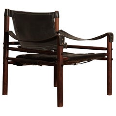 Arne Norell Black Leather Safari Sirocco Chair, Sweden, 1960s-1970s