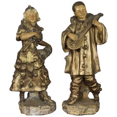 Pierrot - Colombine Patinated Plaster Vases, Sculptures Early 20th Century
