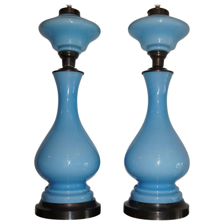 Pair of Light Blue Opaline Table Lamps