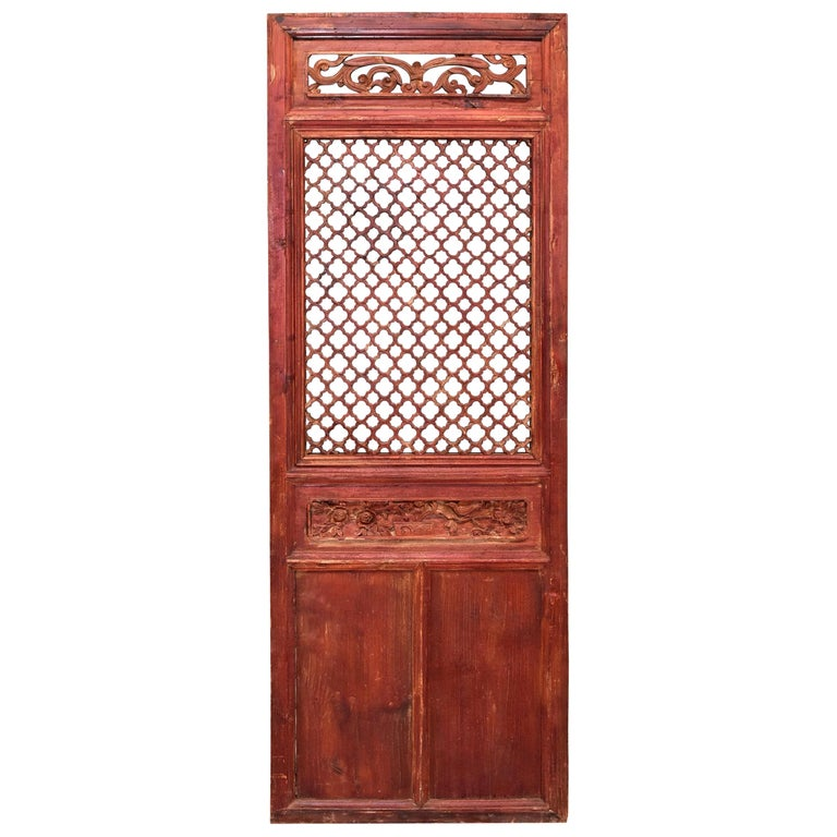 Antique Chinese Carved Screen, Peony and Bird