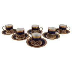 6 French Limoges Cobalt Blue Fine Porcelain and Gilt Cup and Saucer Sets
