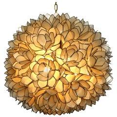Elegant Beautiful 1970s Flowers Spherical Pendant Lamp Made of Mother-of-Pearl
