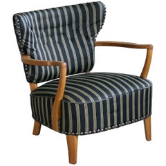Otto Schulz Style Lounge Chair in Oak with Brass Tacks Danish Midcentury