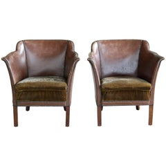 Pair of Danish Club Chairs in Brown Leather with Brass Tacks from 1930s-1940s
