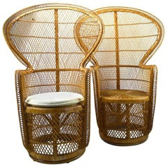 Pair of Emmanuelle Peacock Chairs in Woven Wicker