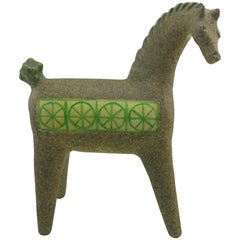 Mid-Century Modern Green Ceramic Horse by Alfaraz Spain