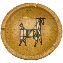 Mid-Century Modern Ashtray or Bowl By Alfaraz Spain, Yellow Modernist Horse