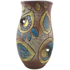 Mid-Century Modern French Vase by Accolay, Vintage Blue & Yellow Modernist Owl