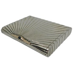Silver Gold and Sapphire Art Deco Cigarette or Card Case