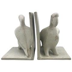 Ceramic Parrot Bookends by Bruno Gambone, Mid-Century Modern, Italian