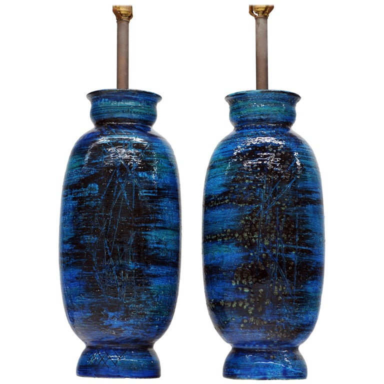 Large Ceramic Pair Rimini Blue Table Lamps by Aldo Londi for Bitossi, Italy