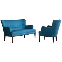 Frits Henningsen Living Room Set Settee with Lounge Chair Danish Midcentury