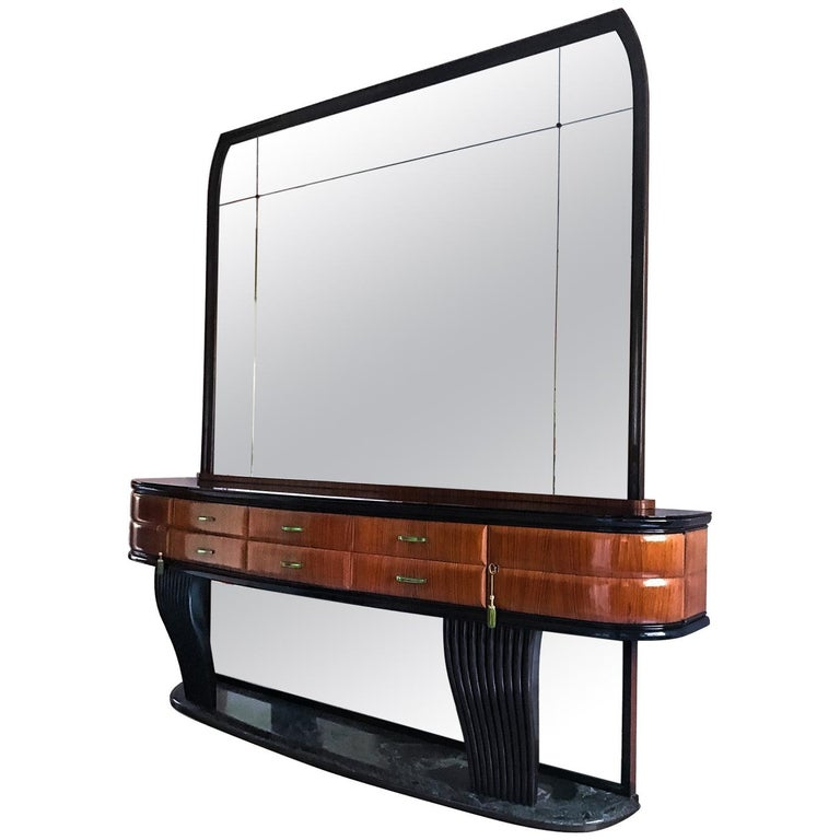 Italian Rosewood Sideboard by Dassi, with Opaline Top and Crystal Handles, 1950s