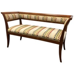 Custom Wood and Fabric Midcentury Style Settee Bench