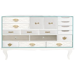Soho Sideboard in White with Glass Top by Boca do Lobo