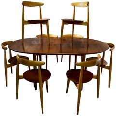 Hans Wegner Dining Table & Eight Chairs Heart Shape Fritz Hansen Denmark 1950s