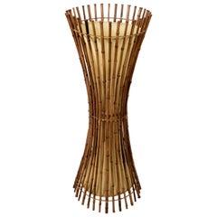 Floor Lamp, Midcentury Franco Albini Style Bamboo and Rattan, Italy, 1960s