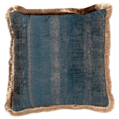 Brabbu Mystical Pillow in Teal Velvet with Fuzzy Gold Trim