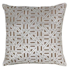 Brabbu Zellige Pillow in White Velvet with Geometric Pattern