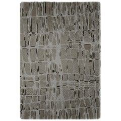Brabbu Byscaine Hand-Knotted Natural Wool Rug in Gray Gradient