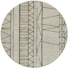 Brabbu Cuzco Circular Hand-Tufted Dyed Wool Rug II in Geometric Pattern