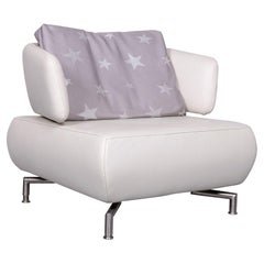 Koinor Designer One-Seat Sofa White Leather Armchair with Pillow
