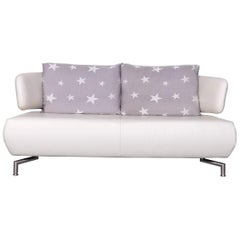 Koinor Designer Two-Seat Sofa White Leather Couch with Pillow