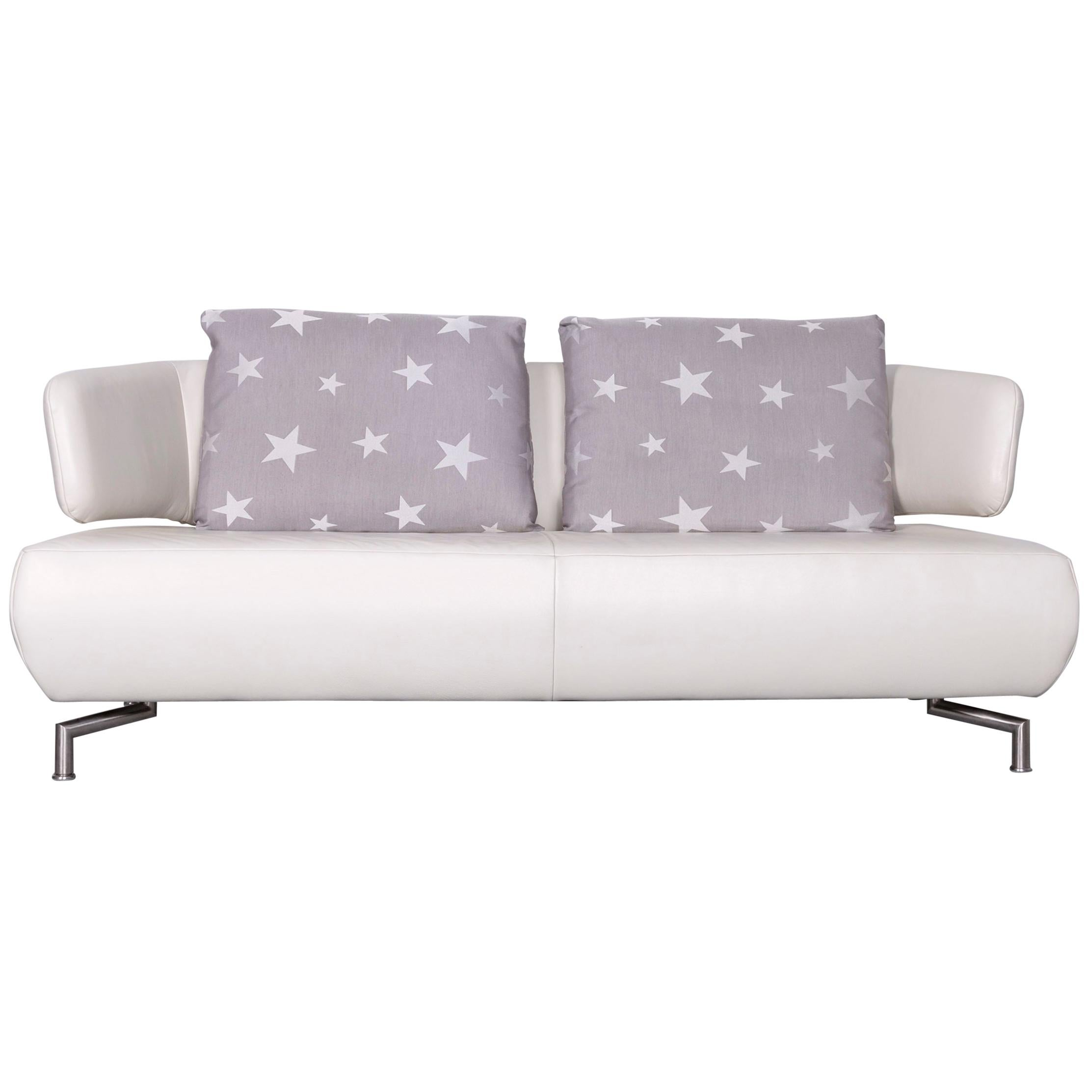 Koinor Designer Two Seat Sofa White Leather Couch With Pillow