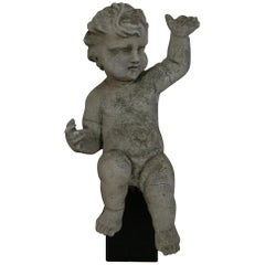 Large Italian 18th Century Carved Stone Angel Cherub