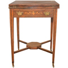 19th Century Victorian Squared Rosewood English Game Table, 1860s
