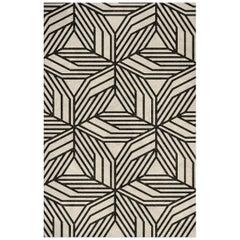 Brabbu Cauca Tencel Handgetufteter Teppich in Schwarz/Weiß