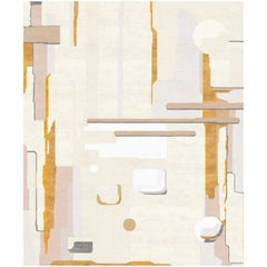 V Contemporary Abstract Ochre and Ivory Beige Large Rug by Angelina Askeri