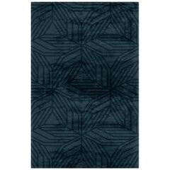 Brabbu Kaiwa Handgetufteter Tencel Teppich in Nachtblau