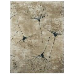Brabbu Macushi Hand-Tufted Tencel Rug in Sand with Tree Pattern