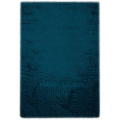 Brabbu Surma Hand-Knotted Dyed Wool Rug in Midnight Blue