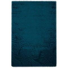 Brabbu Surma Handgeknüpfter Gefärbter Wolle Teppich in Nachtblau