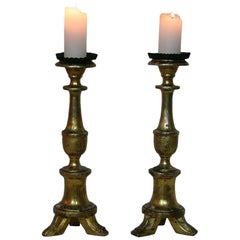 Pair of Late 18th-19th Century Italian Giltwood Candlesticks/ Candleholders