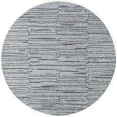 Brabbu Bemba Circular Hand-Tufted Dyed Wool Rug II in Gray & Black