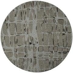 Brabbu Byscaine Kreisförmiger Handgetufteter Gefärbter Wolle Teppich II in Khaki Grün